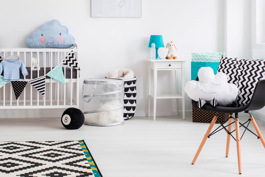 Modern Blue and White themed Nursery